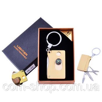 Зажигалка-брелок электронная в подарочной коробке Lighter (USB, Спираль накаливания) №HL-33 Gold