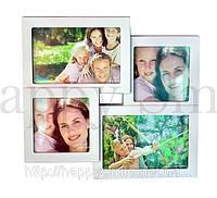 Семейная фоторамка на 4 фото, белая / подарок маме, фото 1