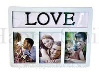 Рамка на 3 фото, белая / подарок любимой