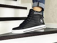 Мужские кроссовки в стиле Converse All Star, кожа, черные с белым 44 (28,3 см)