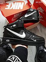 Мужские зимние кроссовки на меху в стиле Nike Air Force 1 07 Mid LV8, кожа, полиуретан, черные с белым 42 (26,5 см)