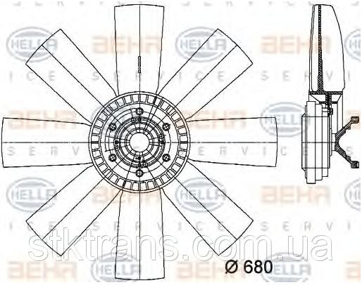 Вискомуфта с вентилятором комплект Volvo FH12/FM12/FM10 8112951, HELLA