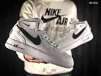Мужские кроссовки в стиле Nike Air Force AF 1 High, натуральная кожа, полиуретан, белые с черным 42 (26,5 см)