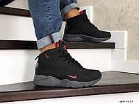 Мужские зимние кроссовки на меху в стиле Nike Air Huarache, кожа, пена, черные с серым 41 (26,4 см)