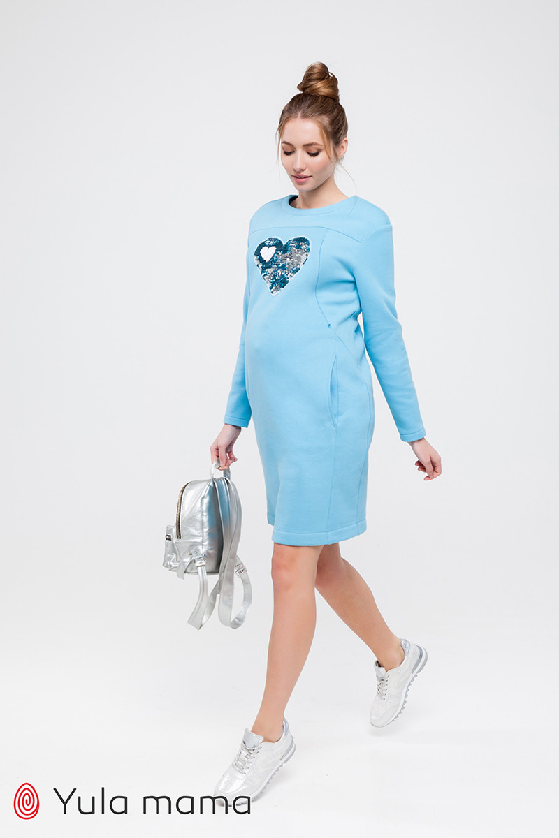 Теплое платье для беременных и кормящих с аппликацией из трикотажа с начесом Milano DR-49.181 xS