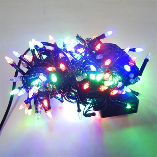 Гирлянда Нить Конус-Рис электрическая, 100 led, мульти, черный провод, 6,5м.