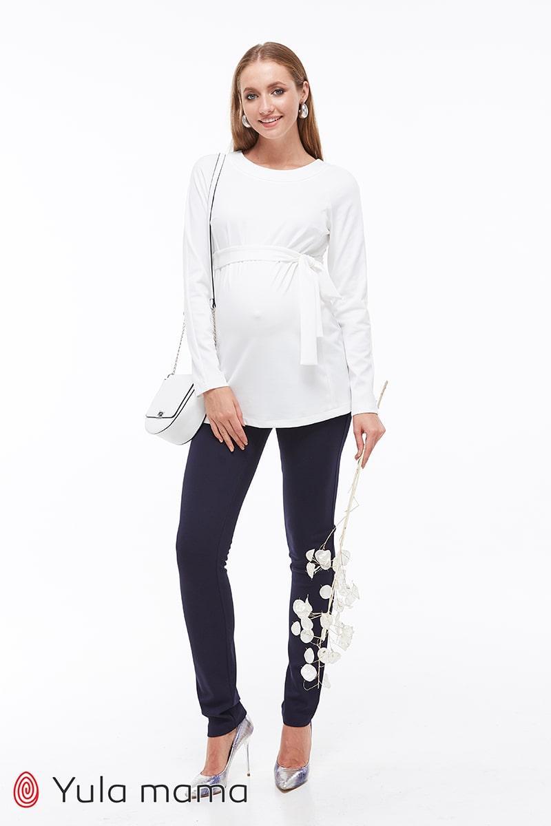Штани для вагітних темно-сині з бандажным поясом трикотажні Livorno Юла Мама (xS-XL)