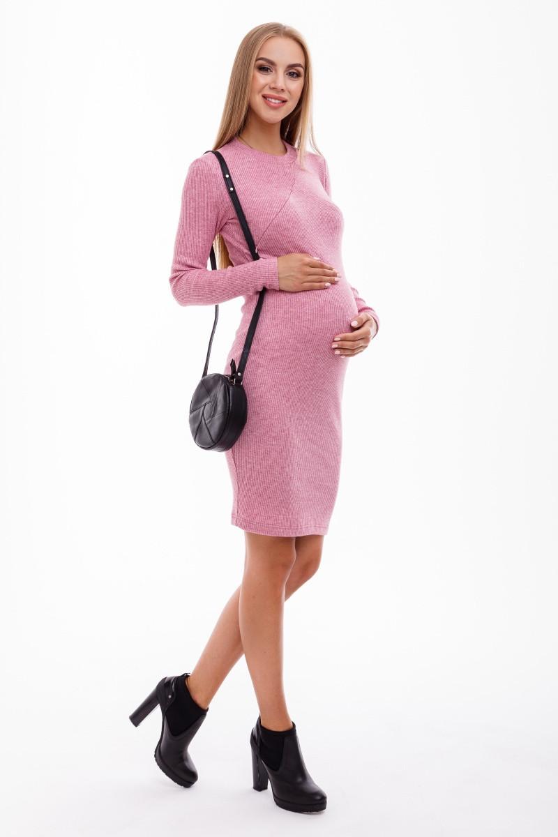 Платье для беременных и кормящих Юла Мама розовый меланж, облегающее. Модель - Marika DR-49.142 xS