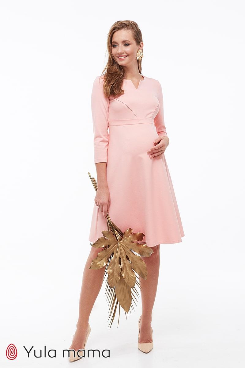 Платье для беременных и кормящих персиковое Юла Мама. Облегающий лиф, юбка-колокольчик. Eloize DR-39.072 xS