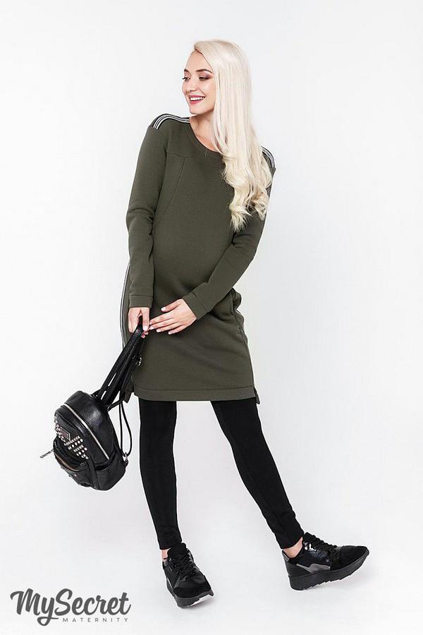Платье-туника для беременных и кормящих трикотажная хаки Юла Мама Danielle warm (S-XL)