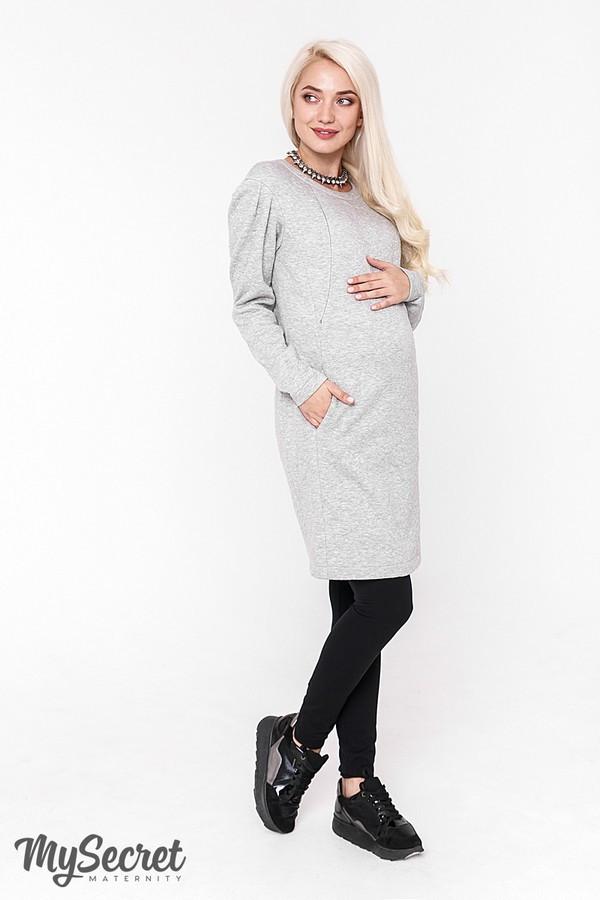 Теплое платье для беременных и кормящих Юла Мама, с секретом для кормления ребенка. Модель Brook DR-48.182 S