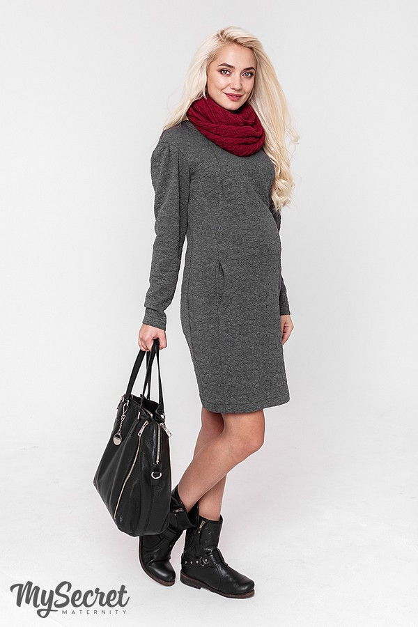 Платье для беременных и кормящих теплое прямое Юла Мама. Стильное платье для кормления. Brook DR-48.181 S