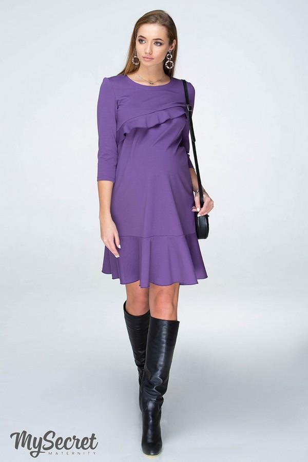 Платье для беременных и кормящих Юла Мама с воланами. Плотный трикотаж, модель - Simona DR-19.071 S