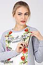 Туника для беременных и кормящих молодежная трикотажная серая с молочным Юла Мама Femi (S-XL), фото 3