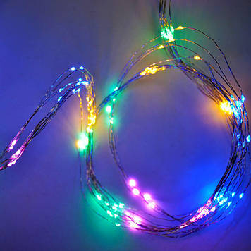 Гирлянда Нить Конский хвост электрическая, 300 led, мульти, проволока 12 нитей немигающая, 2,5м.