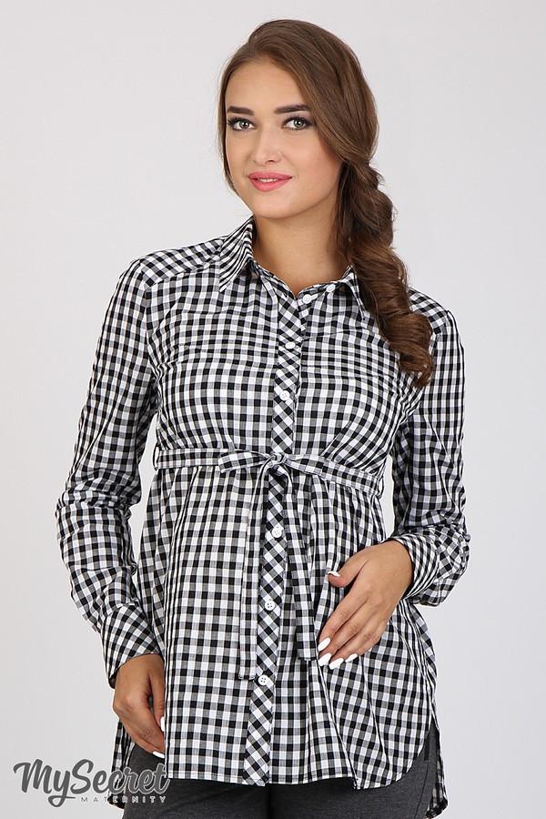 Рубашка для беременных и кормящих хлопковая клетчатая черно-белая Юла Мама Cardo (S-XL)