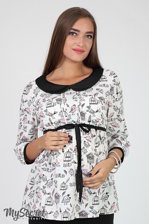 """Блузка для беременных из стрейчевой ткани с принтом """"птички"""" черно-белый Юла Мама Meriot (S-XL)"""