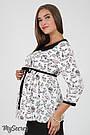 """Блузка для беременных из стрейчевой ткани с принтом """"птички"""" черно-белый Юла Мама Meriot (S-XL), фото 2"""