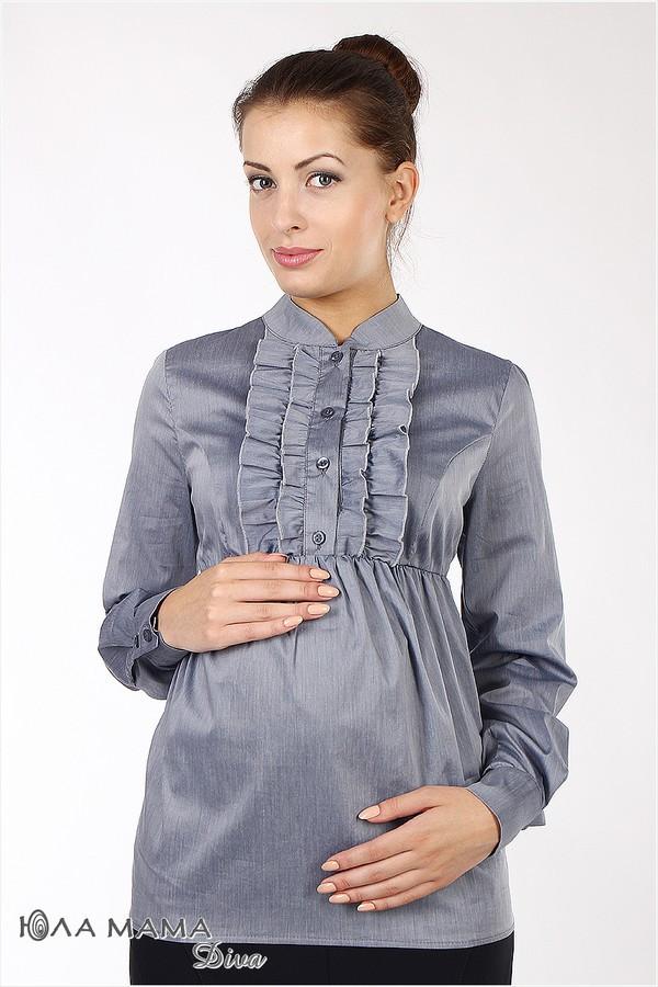 Блузка для беременных с кокетливыми рюшками на груди синяя Юла Мама Michele (S,L)