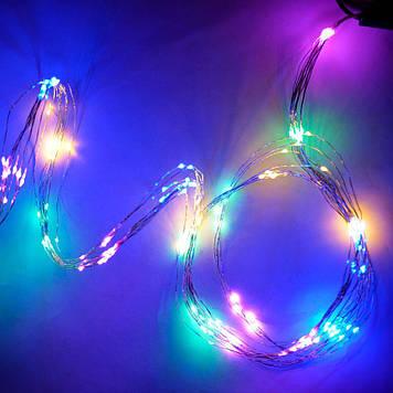 Гирлянда Нить Конский хвост электрическая, 200 led, мульти, проволока 10 нитей немигающая, 2м.