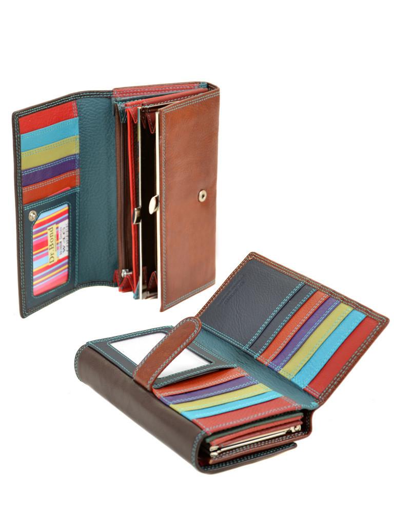 Оригинальный женский кошелек из натуральной коричневой кожи Rainbow DR.BOND(17.5*9*4 см),WR46 coffee