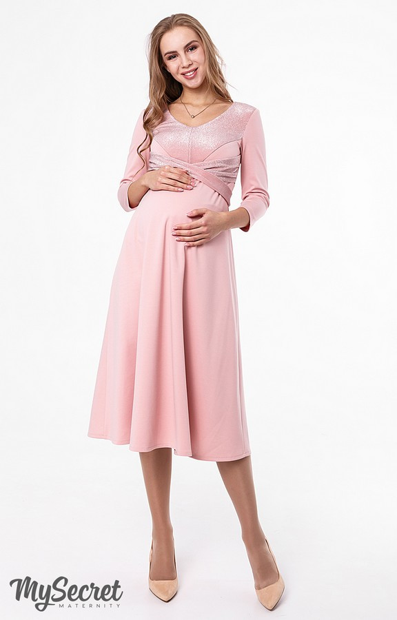 Вечернее платье для беременных и кормящих Юла Мама. Нарядное пудровое платье. Elizabeth DR-48.261 S