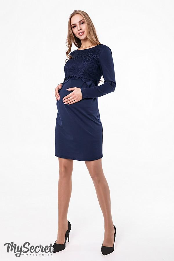 Платье для беременных и кормящих с утонченным кружевным лифом Юла Мама темно-синее. Ebben DR-48.251 S