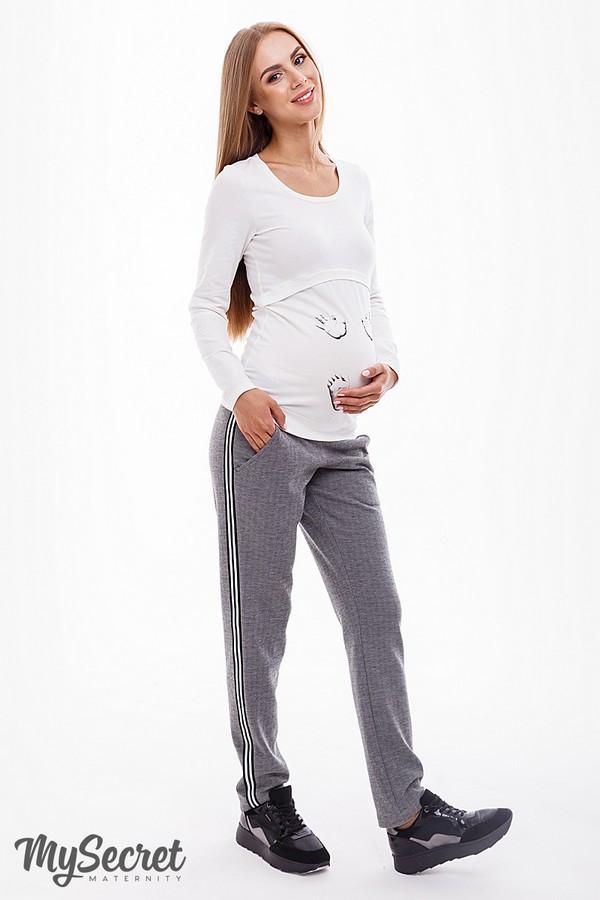 Штани для вагітних сірі з бандажным поясом завужені до низу трикотажні Dominica Юла Мама (S-XL)