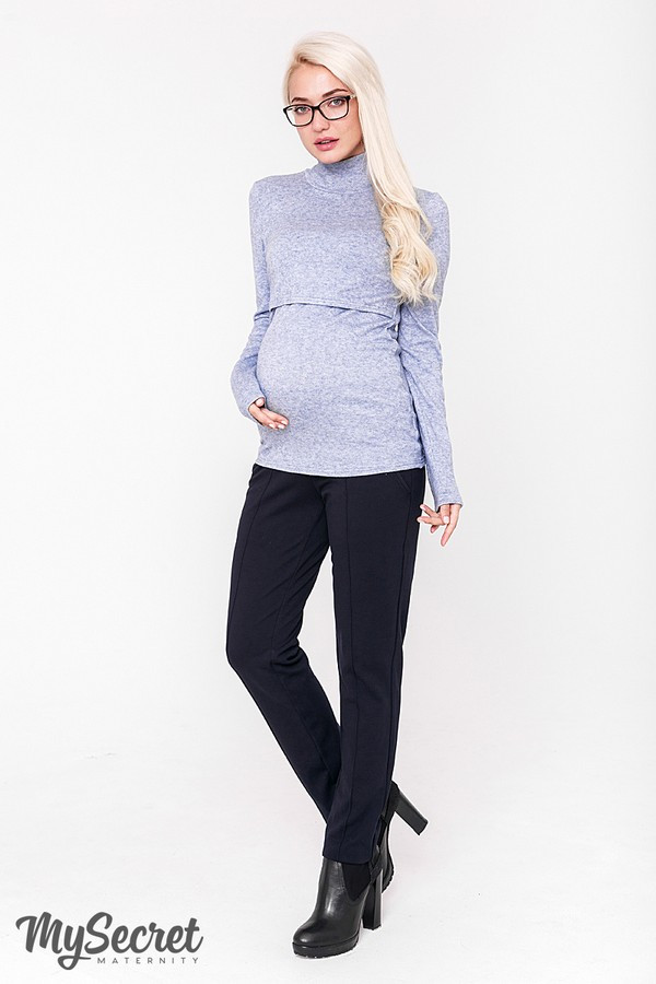 Брюки для беременных темно-синие с поясом для живота теплые с начесом Taya warm Юла Мама (S-XL)