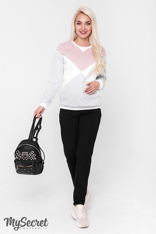 Штани для вагітних чорні теплі з начосом і комбінованим поясом Taya warm Юла Мама (S-XL)
