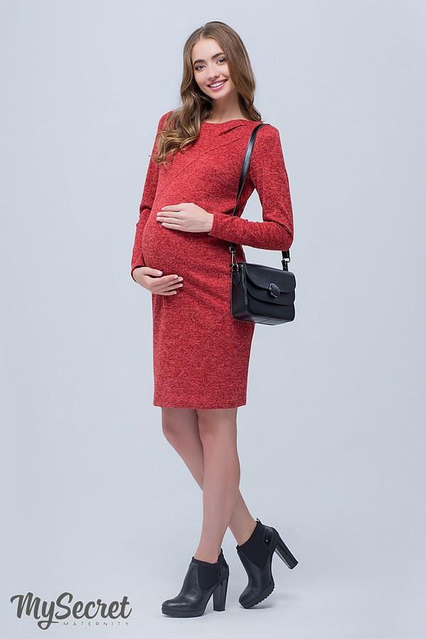 Платье-футляр для беременных и кормящих красное из теплого трикотажа Юла Мама. Модель - Annita DR-48.122 S