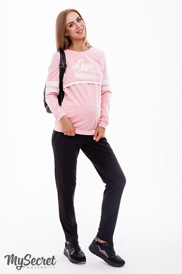 Спортивні штани для вагітних чорні бавовняні з поясом для живота Benji Юла Мама (S)