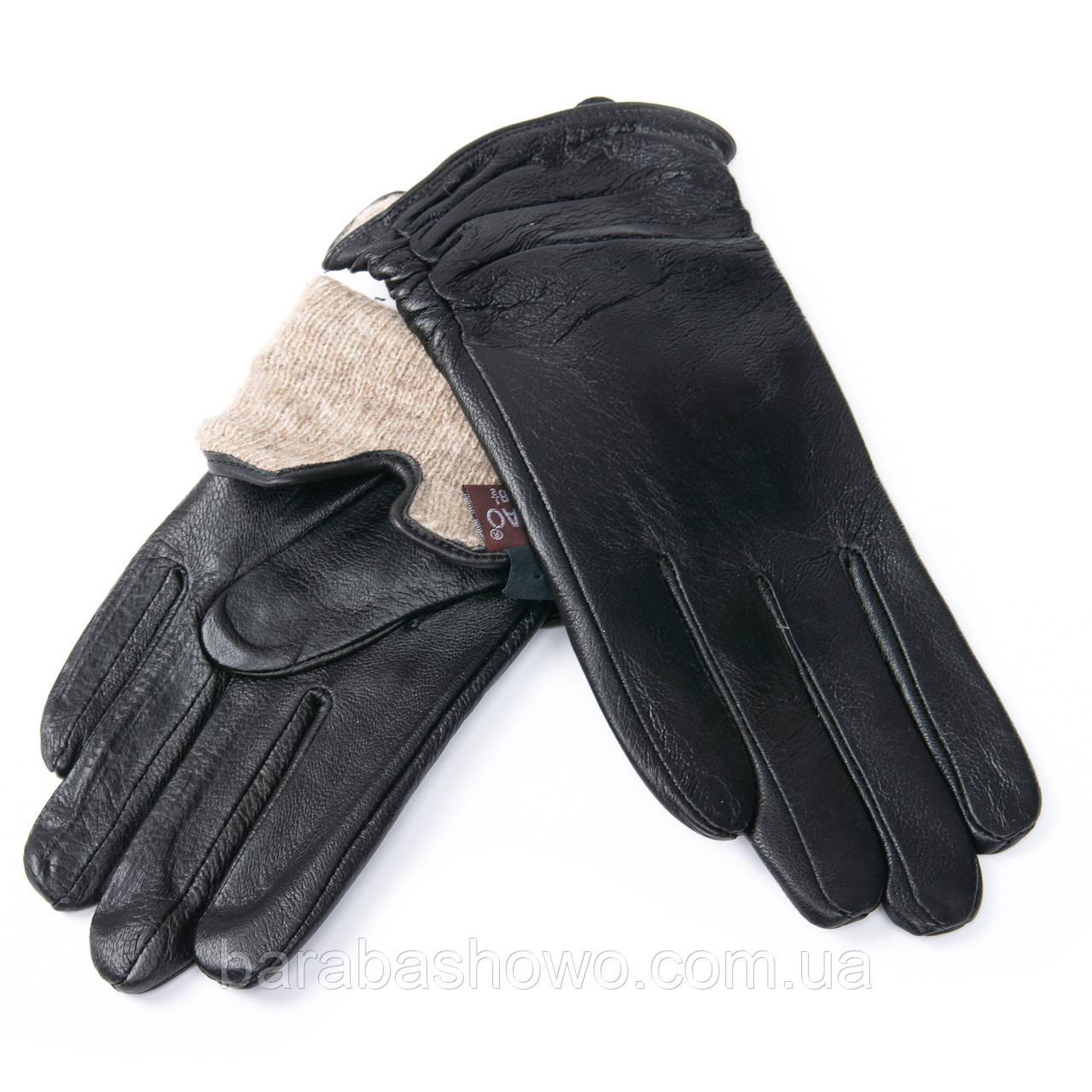 Кожаные женские перчатки, черные. Подкладка - шерсть. MOD 6