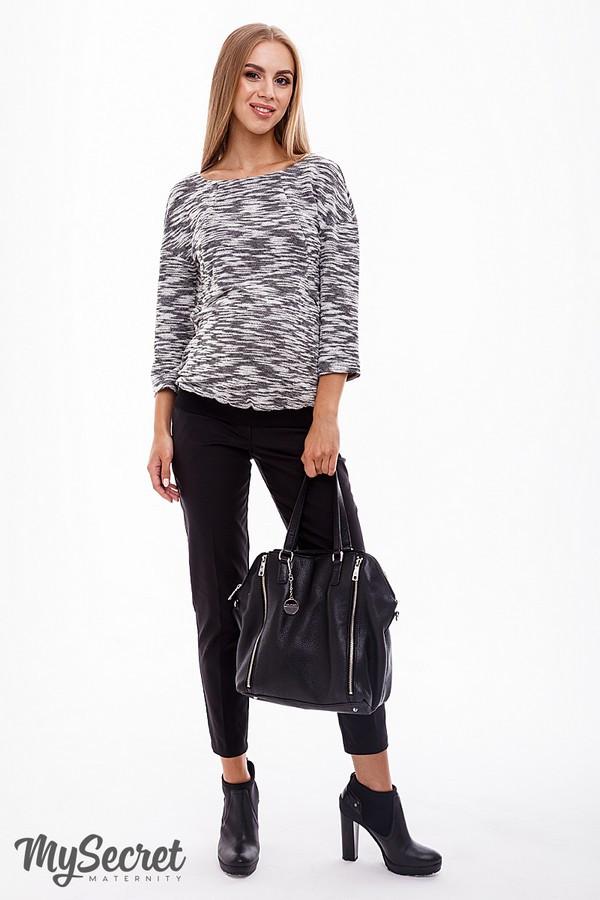 Штани для вагітних чорні бавовняні з бандажным поясом Юла Мама Elegance (S-XL)