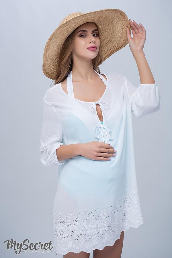 Туника для беременных и кормящих пляжная свободного фасона белая Юла Мама Emmi (S-L)