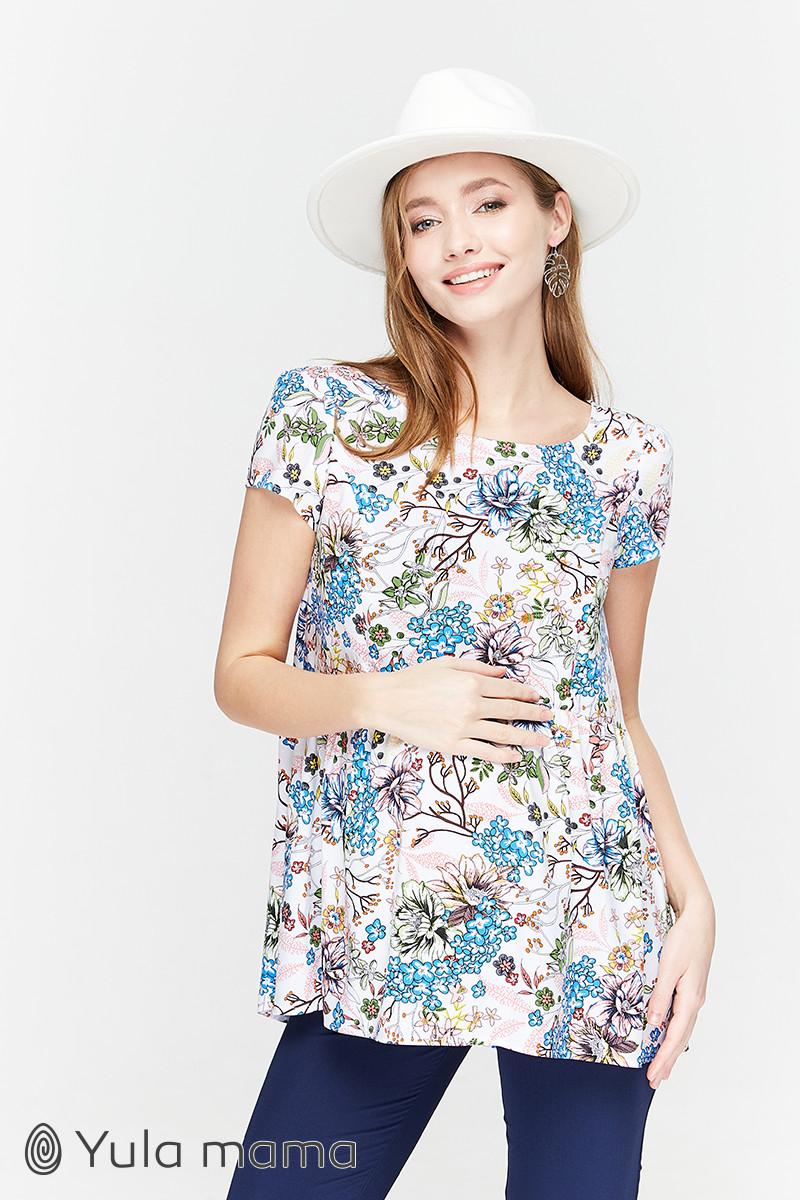 Блузка для беременных и кормящих свободная белая с цветами Юла Мама Remy (XS-XL)