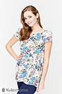 Блузка для беременных и кормящих свободная белая с цветами Юла Мама Remy (XS-XL), фото 4