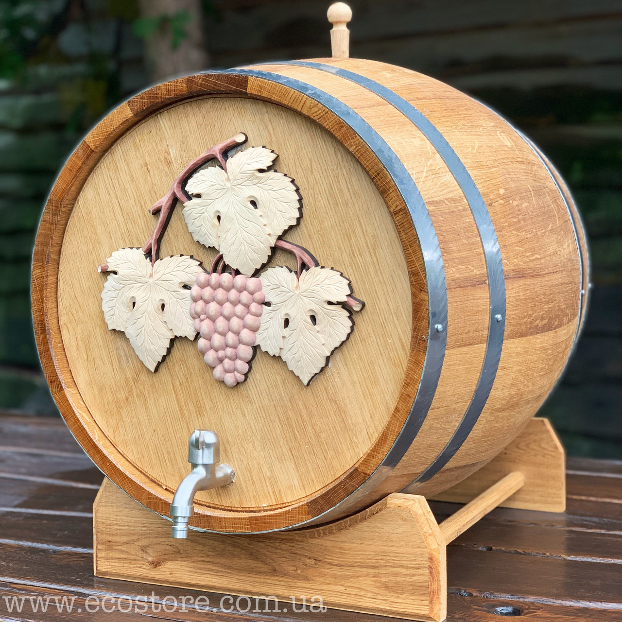 Дубовая бочка для вина 70л (нерж. кран, резьба)
