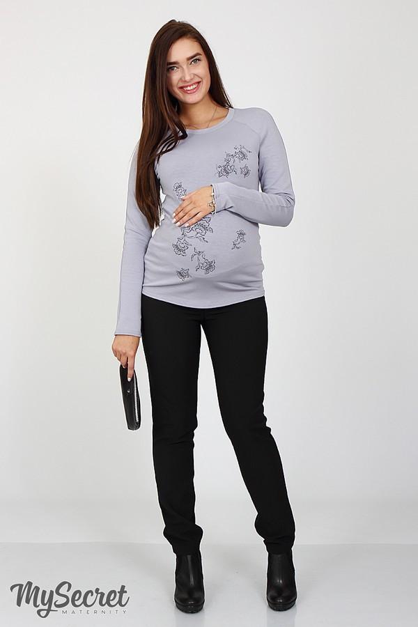Брюки для беременных черные прямые с поясом теплые с начесом Lera Юла Мама (S-L)