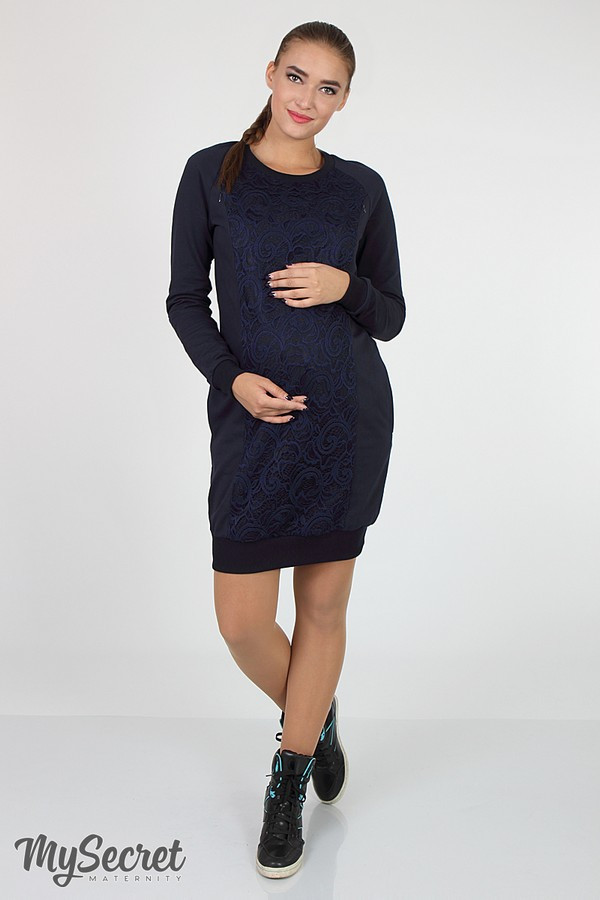 Платье для беременных и кормящих темно-синее Юла Мама трикотажное. Модель - Margarita DR-36.151 S