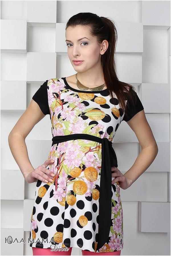 Платье-туника для беременных трикотажная с принтом монеты с сакурой Юла Мама Sesily top (S,M)