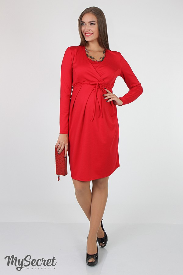Деловое платье для беременных и кормящих Юла Мама, с запахом для кормления. Модель - Winona DR-36.022 S