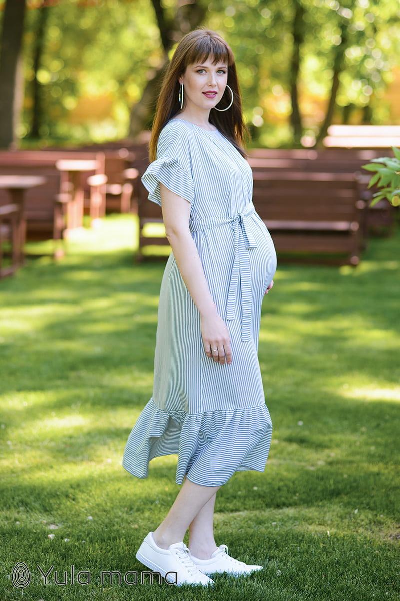 Свободное платье для беременных и кормящих с клешением Юла Мама, сине-белое. Модель - Zanzibar DR-29.084 S