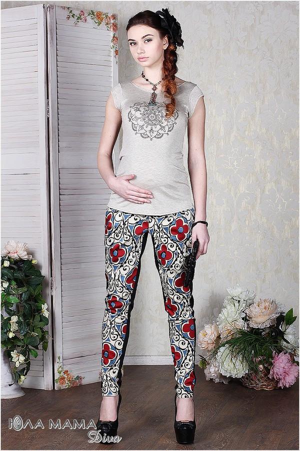 Брюки для беременных с лампасами стильные Юла Мама. Модель - Pretty flower S14-1.18.1 S