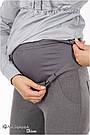 Брюки для беременных серые из костюмной ткани с поясом на живот Lea Юла мама (L), фото 3