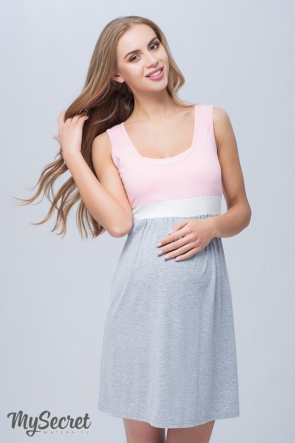 Ночная сорочка для беременных и кормящих хлопковая трикотажная молочно-серая с розовым Юла Мама Sela