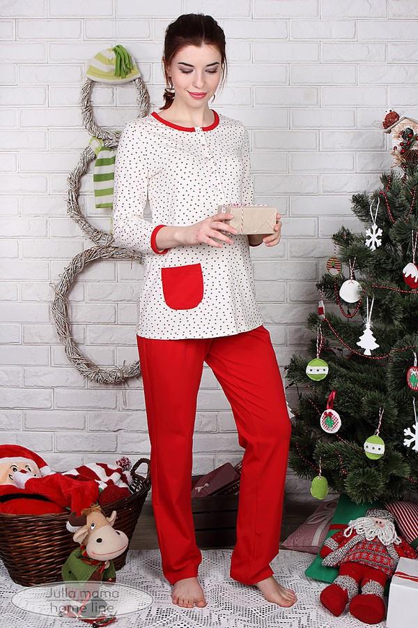 Пижама для беременных и кормящих хлопковая трикотажная молочная с красным Юла Мама Sugar light (S-L)