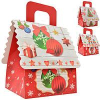 """Коробка - домик подарочная Stenson """"Новогодняя"""" размер 12х10х13,5см, картон, красная, коробка для подарков, подарочная коробка"""