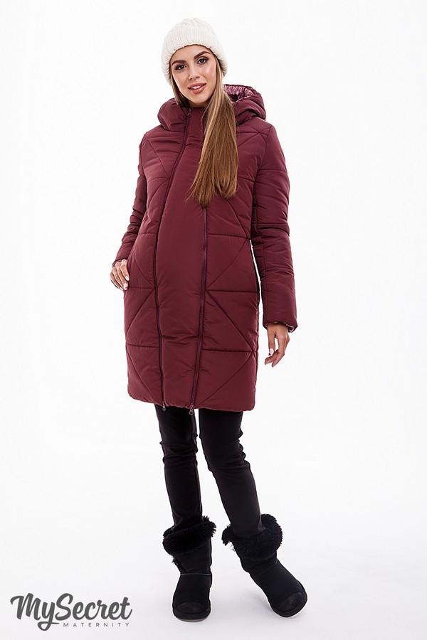 Зимнее пальто для беременных со вставкой теплое марсаловое Angie Юла Мама (S-XL)