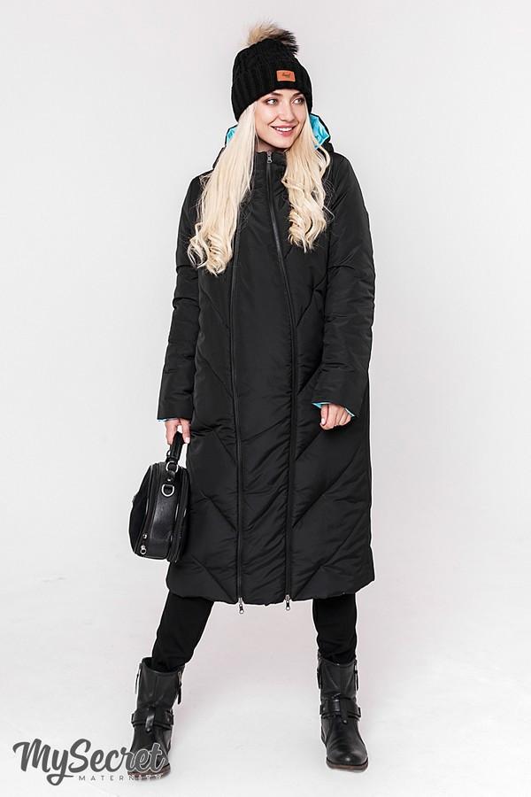 Двухстороннее пальто для беременных зимнее теплое Юла Мама. Со вставкой для животика. Tokyo OW-48.064 S